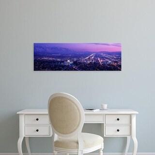 Easy Art Prints Panoramic Images's 'USA, Utah, Salt Lake City, aerial, night' Premium Canvas Art