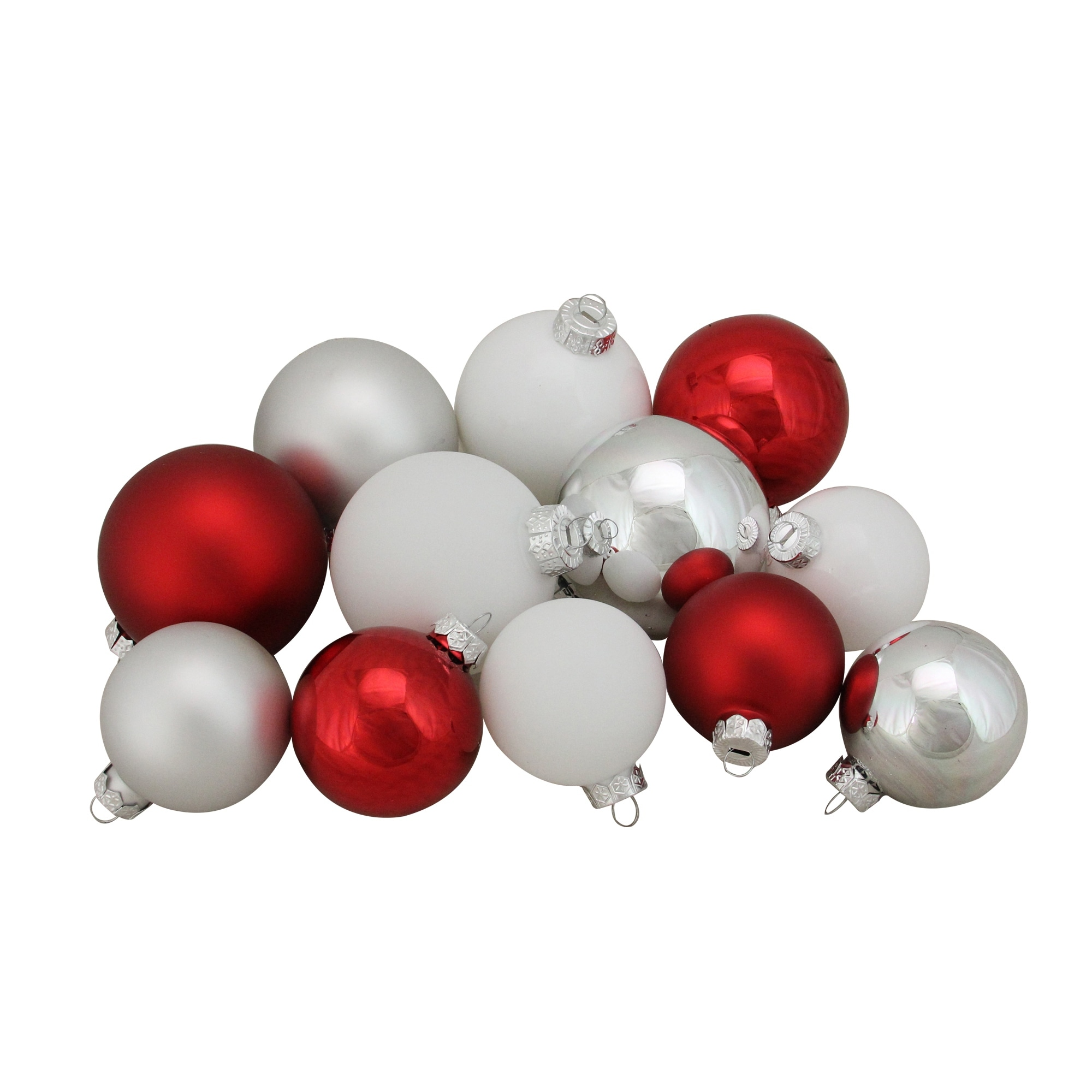 """96ct Red and White 2 Finish Glass Christmas Ball Ornaments 3 25"""""""