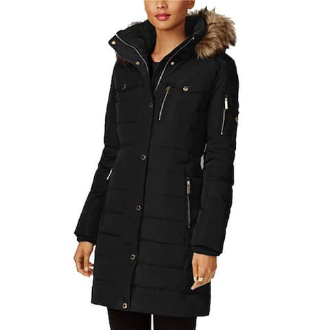 Michael Kors Black Down Puffer Coat 3/4 Quilted