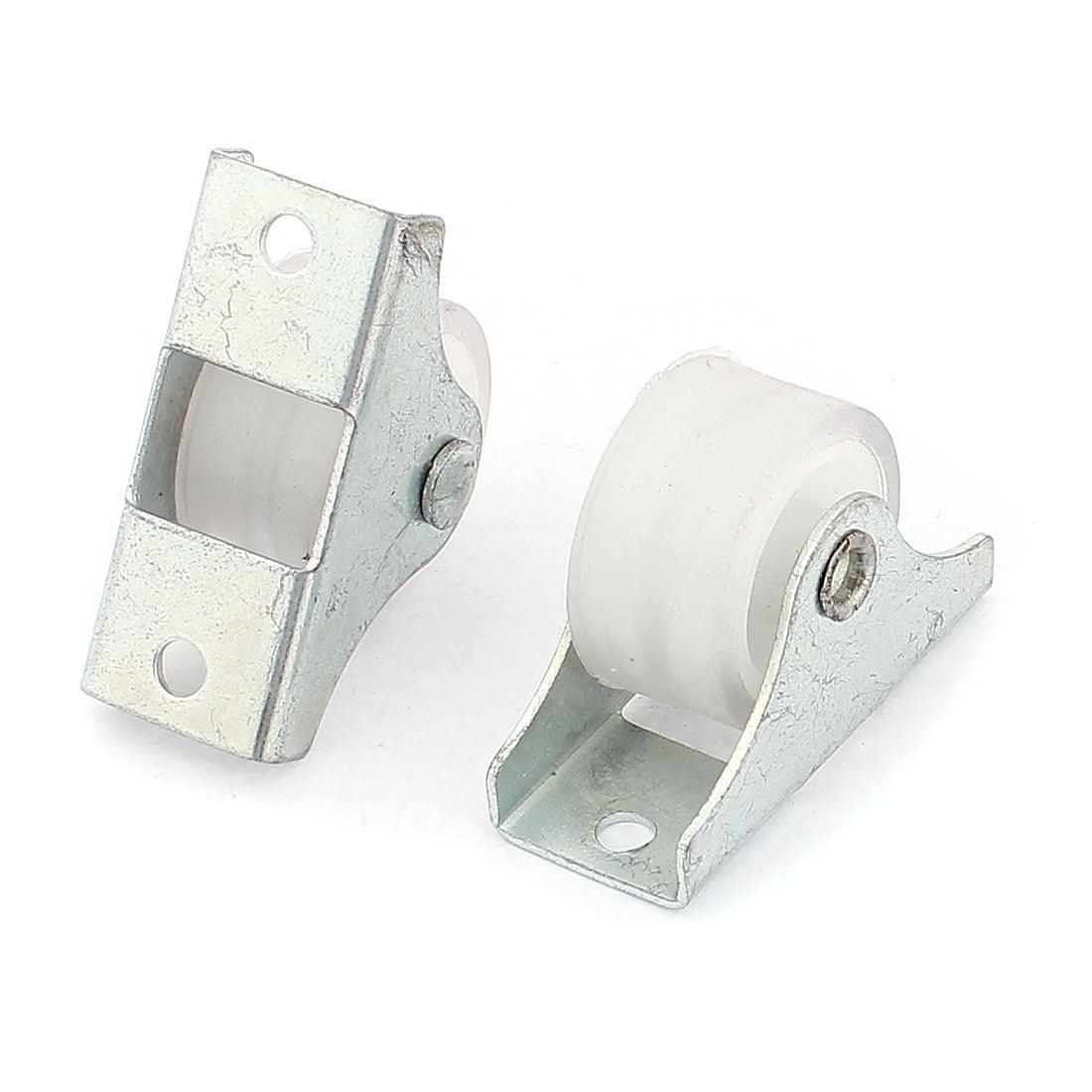 10pcs White Doors Window Single Nylon Sliding Roller Pulley Wheel