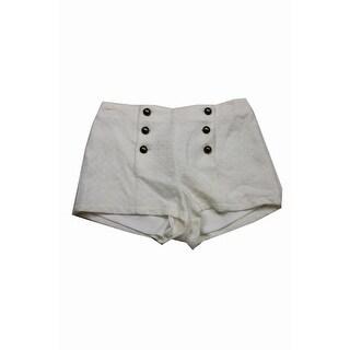 Tinseltown Juniors Ivory Five-Button High-Waist Shorts S