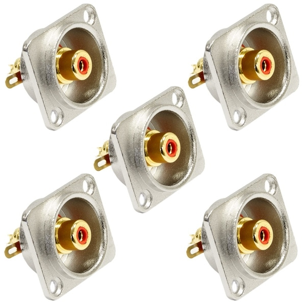 Seismic Audio 5 Pack of RCA Female Panel Mount Connectors - Nickel Plated - Fits D Series