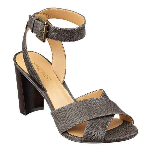 Nine West Womens Nobu Leather Peep Toe Casual Ankle Strap Sandals - 8