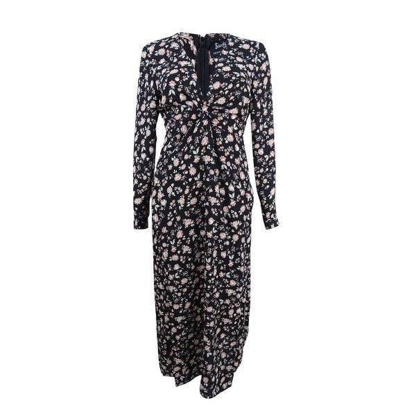 Bardot Women's Floral-Print Double-Slit Midi Dress - Black Multi