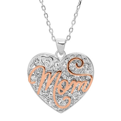 "'Mom' Two-Tone Heart Pendant with Crystals in Rose Gold Plated Sterling Silver, 18"" - White"