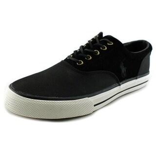 Polo Ralph Lauren Vaughn Saddle Men Round Toe Canvas Black Sneakers