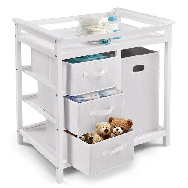 Costway White Infant Baby Changing Table w/3 Basket Hamper Diaper Storage Nursery