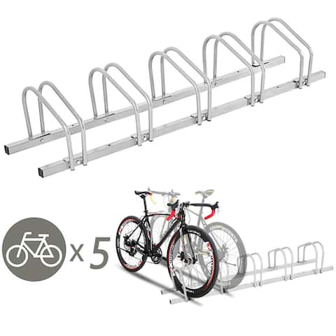 Gymax 5 Bike Bicycle Stand Parking Garage Storage Cycling Rack Silver