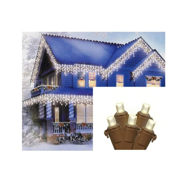 Set of 70 Warm White LED Wide Angle Icicle Christmas Lights - Brown Wire