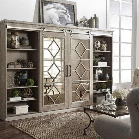 Mirrored Reflections Taupe Entertainment Center with Piers