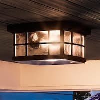 "Luxury Craftsman Outdoor Ceiling Light, 5.75""H x 12""W, with Tudor Style, Highly-Detailed Design, Black Silk Finish"
