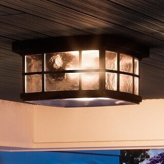 """Luxury Craftsman Outdoor Ceiling Light, 5.75""""H x 12""""W, with Tudor Style, Highly-Detailed Design, Black Silk Finish"""