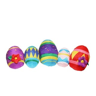 10' Inflatable Lighted Easter Eggs Outdoor Decoration - Multi