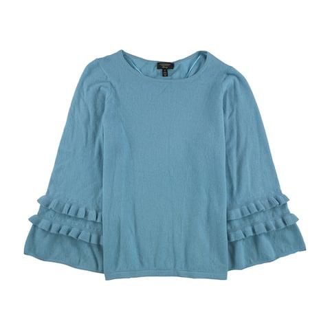 Charter Club Womens Ruffle Sleeve Pullover Sweater, Blue, 1X