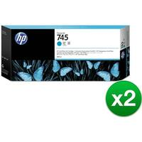 HP 745 300-ml DesignJet Cyan Ink Cartridge (F9K03A)(2-Pack)