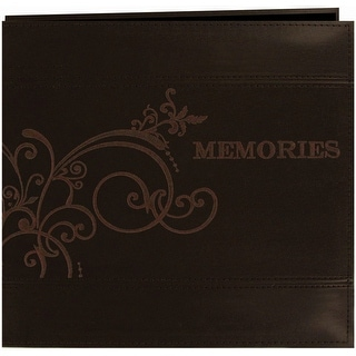 """Pioneer Embroidered Scroll Leatherette Post Bound Album 12""""X-Brown - Brown"""