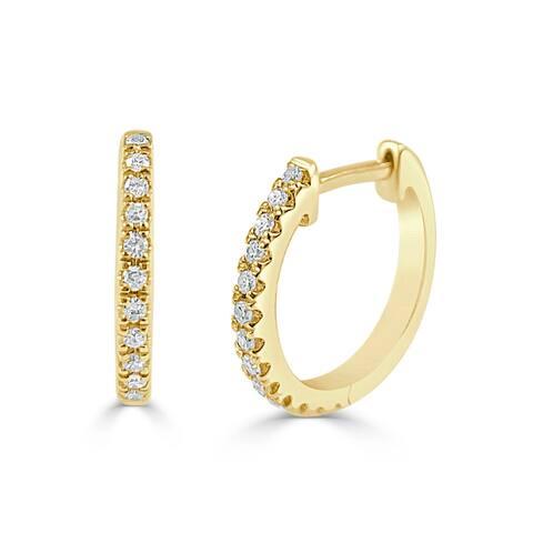 "Diamond Huggie Earrings 14k Gold 1/10ct TDW 1/2"" Diameter by Joelle Collection"