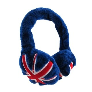 Fuzzy Blue British Union Jack Flag Plush Adjustable Earmuffs Faux Fur