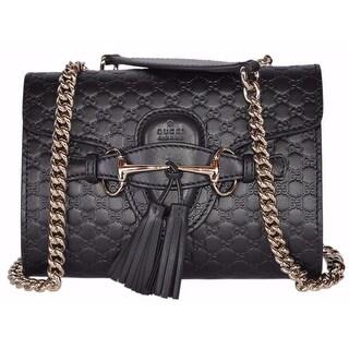 """Gucci 449636 Black Micro GG Guccissima Leather MINI Emily Crossbody Purse - 7"""" x 5.5"""" x 2"""""""