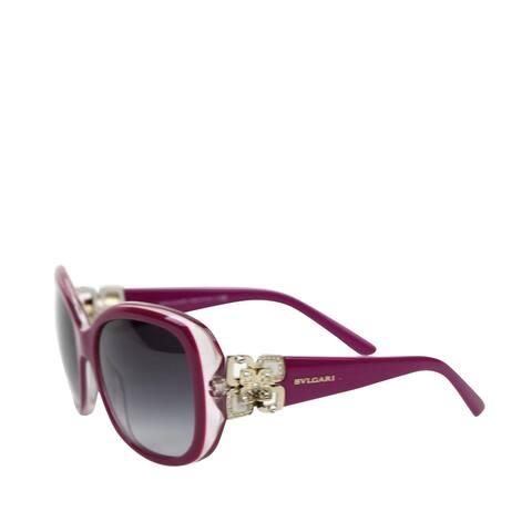 Bvlgari Women's Flower Crystal Purple Plastic Oversized Sunglasses 8172-B 5392/8G - One size