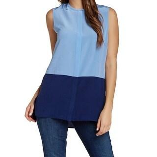 Vince NEW Blue Women's Size Small S Colorblock Button Down Silk Blouse