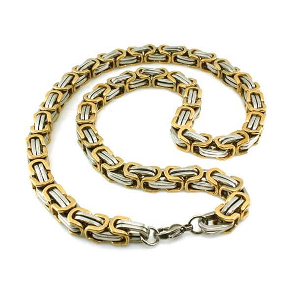 Two-Tone Stainless Steel Small Imperial Box Necklace - 22 inches