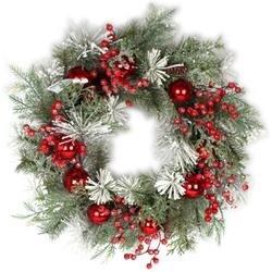 "- Mixed Snow Pine Berry Wreath 28"""