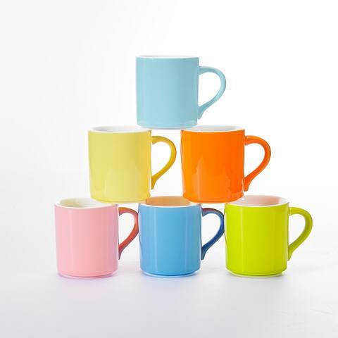 9.45oz Assorted Colors Porcelain Mugs Set Service for 6