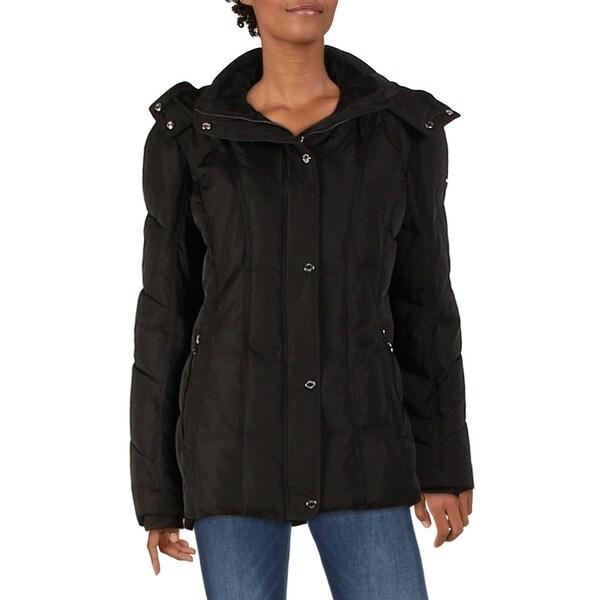 Calvin Klein Womens Parka Coat Faux Fur Lined Anorak - Black - L. Opens flyout.