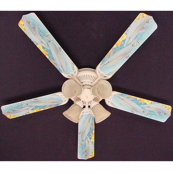 Children's Dolphins Print Blades 52in Ceiling Fan Light Kit - Multi