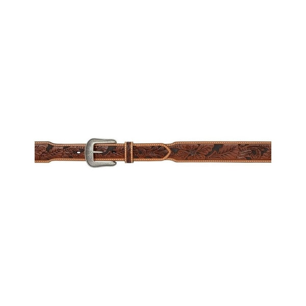3D Belt Mens Western Leather Distressed Tooled Floral Tan