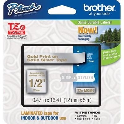 Brother International - Tzemq934 - 12Mm Gold On Satin Silver