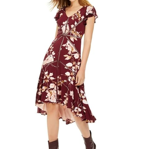 Taylor Womens A-Line Dress Blush Wine Red Size 12 High-Low V-Neck