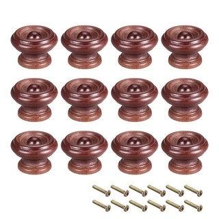 Cabinet Round Pull Knobs 37mm Dia Bedroom Kitchen Dark Red Elm Wood 12pcs - 37mmx26mm(D*H)-12pcs