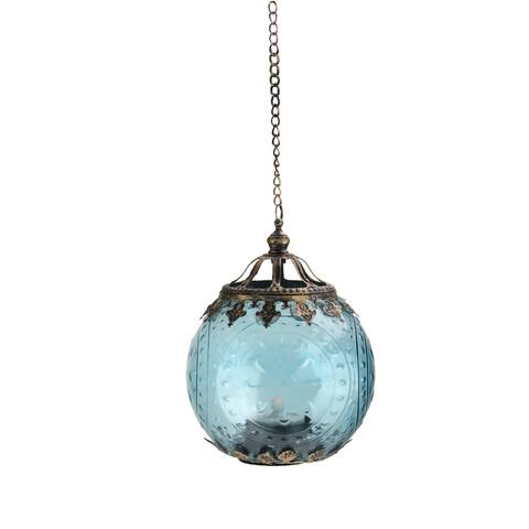 "6.25"" Aqua Blue Chic Bohemian Glass Tea Light Candle Holder Lantern - N/A"