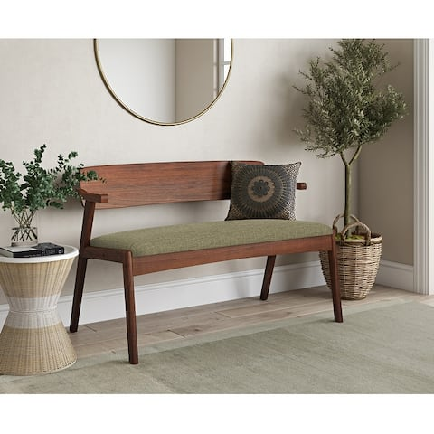 Carson Carrington Comiskey Cherry Finish Arm Dining Bench with Back