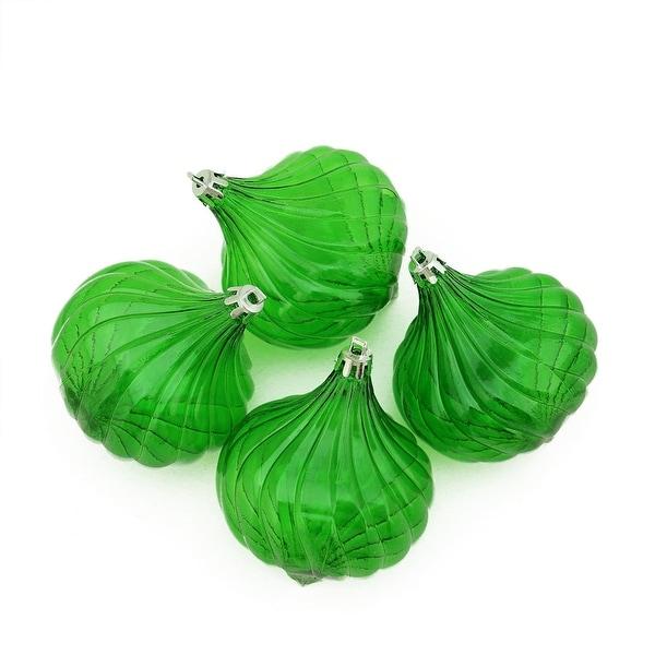 "4ct Xmas Green Transparent Onion Drop Shatterproof Christmas Ornaments 4.5"""