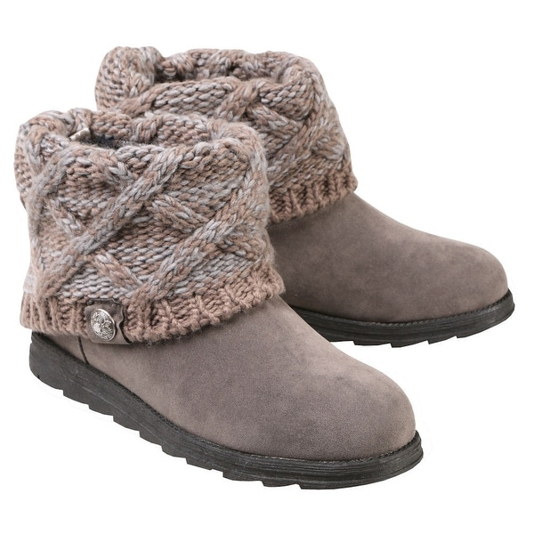 1bda1661f7 Shop Muk Luks Women s Patti Ankle Boots - Cable Knit Sweater Cuffs - Light  Gray - 8 - Free Shipping On Orders Over  45 - Overstock - 27480150