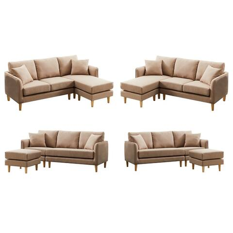KIWELL Reversible Sofa with Chaise Lounge,L Shape 3-seat sectional Sofa