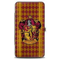 Gryffindor Crest Stripes Diamonds Red Golds Hinged Wallet  One Size - One Size Fits most
