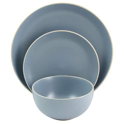 Gibson Home Stone 12 Piece Dinnerware in Matte Blue Set