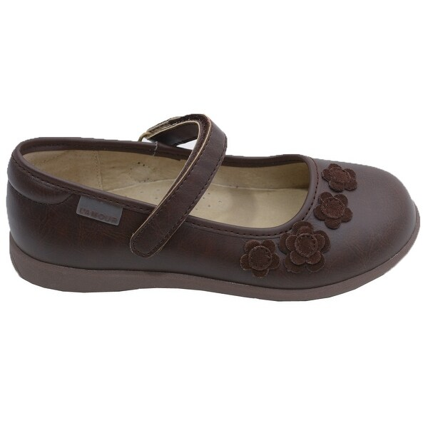 5936a5375c73 Shop L Amour Little Girls Brown Suede Flowers Mary Jane Shoes 5-10 ...