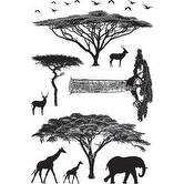 """African Trees - Darkroom Door Cling Stamps 7""""X5"""""""