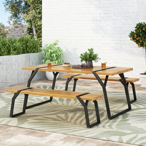 Varva Outdoor Acacia Wood Outdoor 3 Piece Picnic Set by Christopher Knight Home
