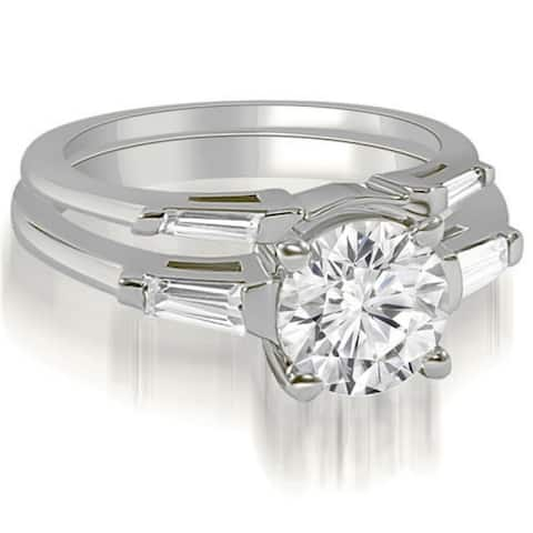 1.05 CT Round & Baguette Cut 3-Stone Diamond Bridal Set in 14KT Gold - White H-I