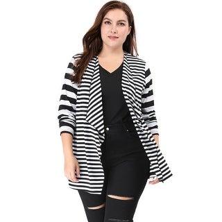 Allegra K Women Plus Size Open Front Mixed Striped Cardigan - Black