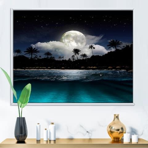 Designart 'Fishing Boat Under Tropical Full Moon' Modern Framed Canvas Wall Art Print