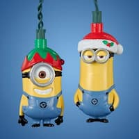 Set of 10 Despicable Me - Stuart and Kevin Novelty Christmas Lights- Green Wire - YELLOW