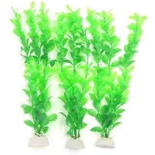 """3 x Ceramic Base Green Underwater Plastic Plants 10.6"""" for Aquarium Fish Tank"""