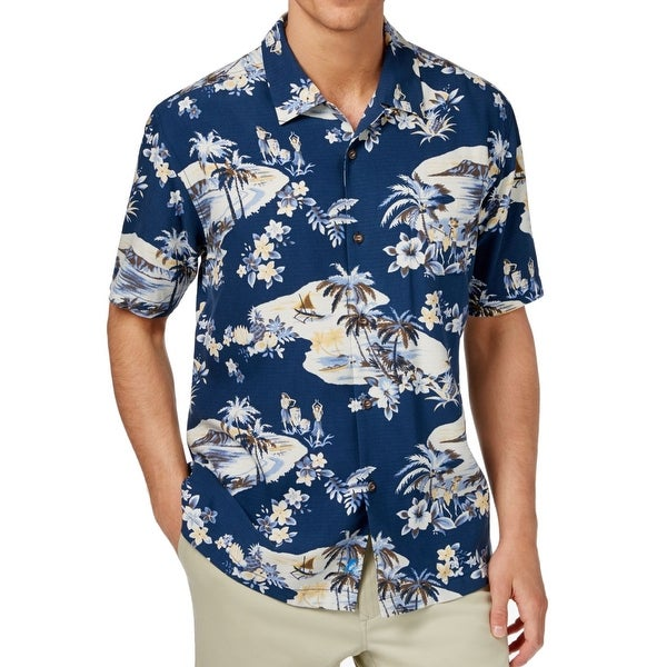 b7a028a7 Shop Tommy Bahama NEW Blue Mens Size 2XL Hawaiian Silk Printed Shirt - Free  Shipping Today - Overstock - 19789240